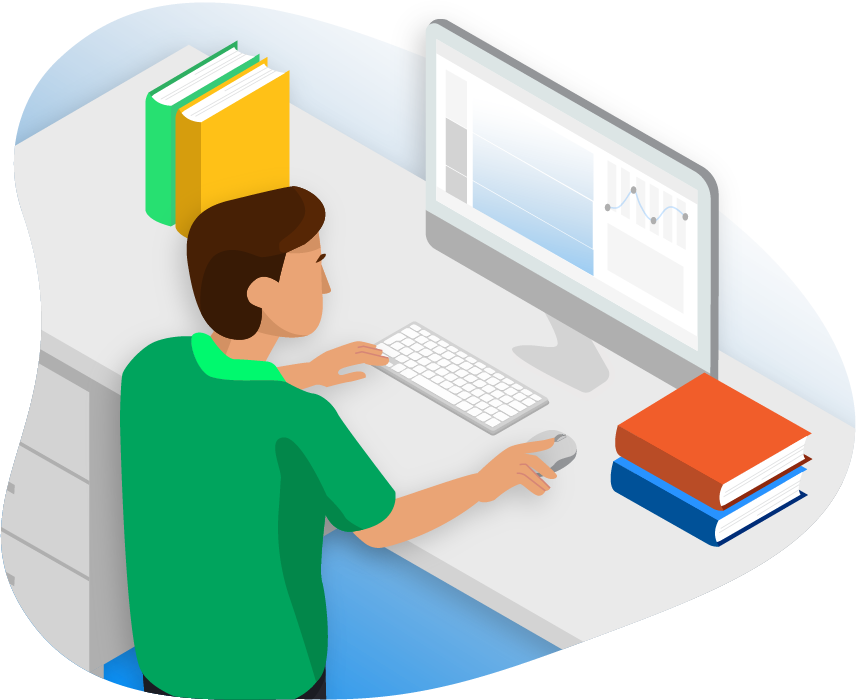 Illustration of pharmacist doing research on computer