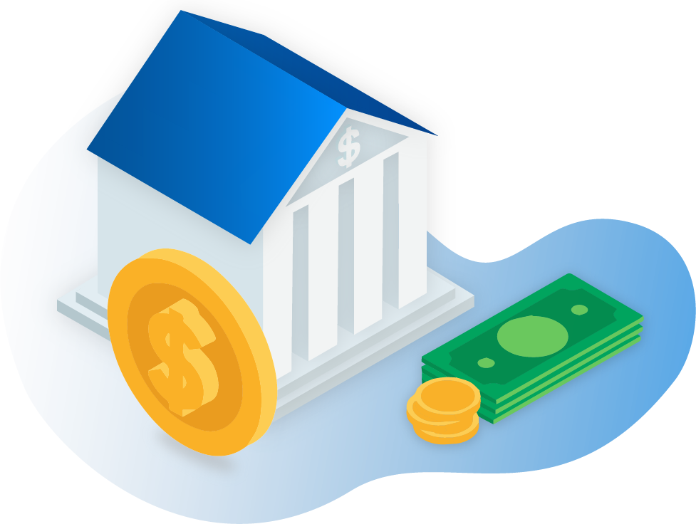 Illustration of bank and money