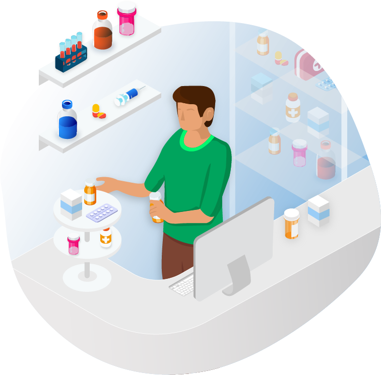 Illustration of pharmacist designing and setting up his store