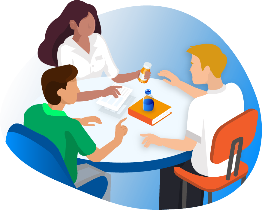 Illustration of pharmacist training employees on a table