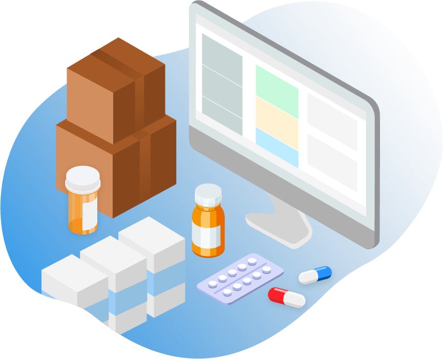 Illustration of boxes and pills on a counter top