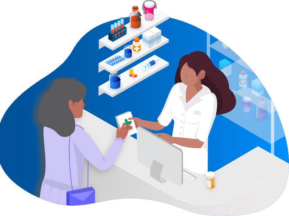 Illustration of female pharmacist taking care of a customer