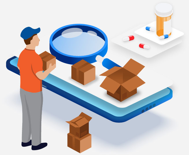 Illustration of a man holding boxes
