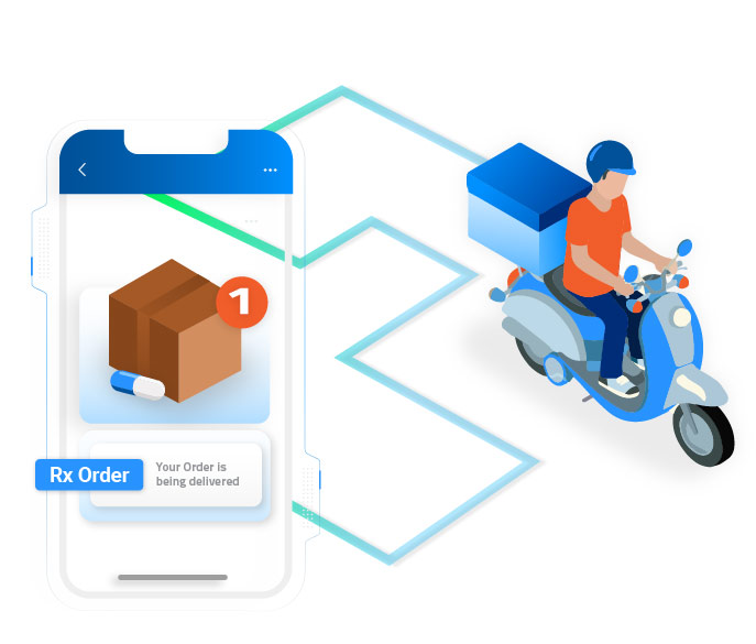 Illustration of guy driving a motorcycle delivering a package