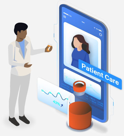 Illustration of pharmacist talking to a patient through phone
