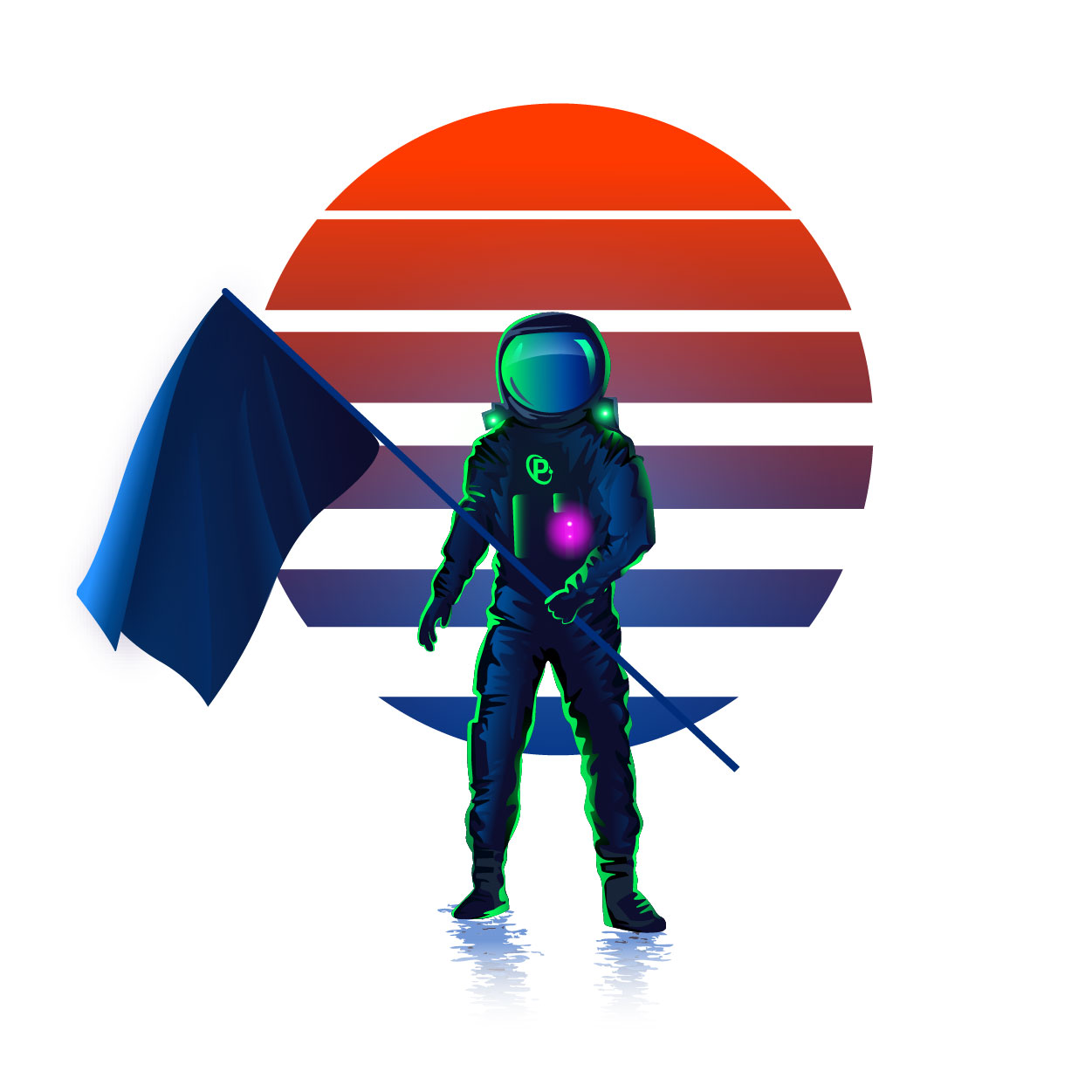 A colorful astronaut holding a blue flag
