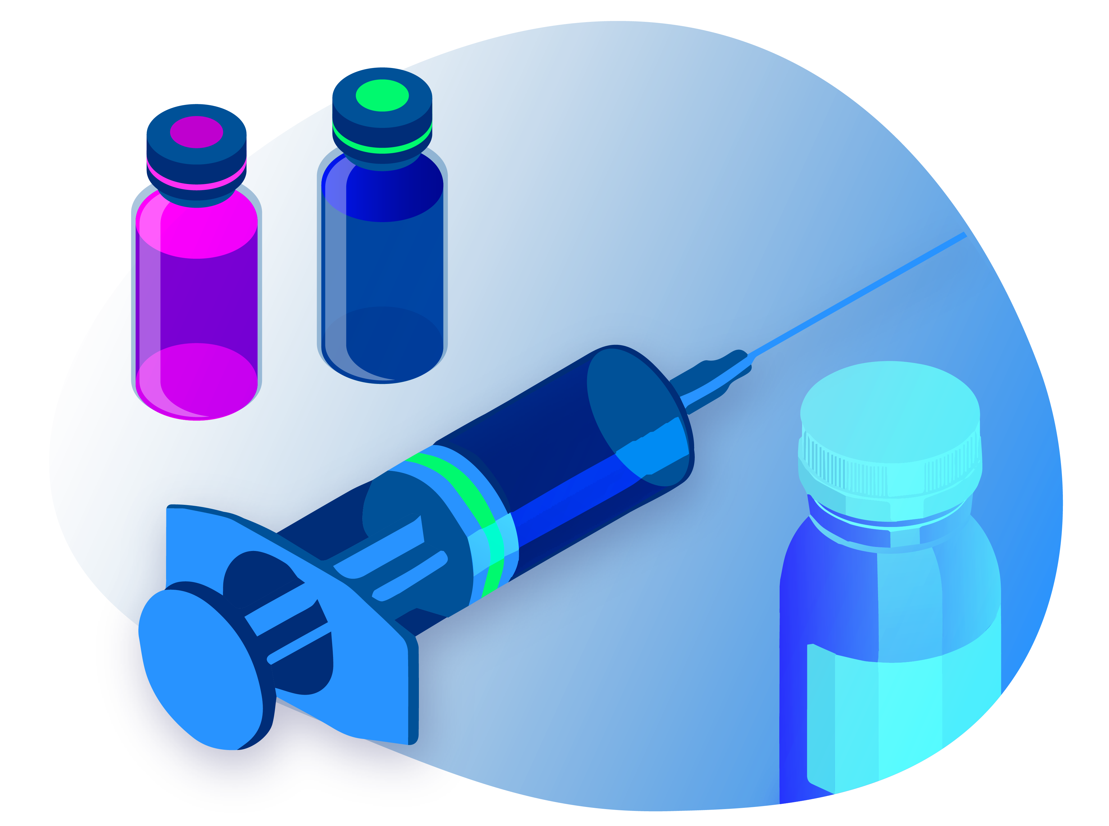 Vials of medication next to a syringe for vaccination