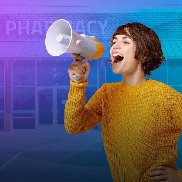 Image of woman with bullhorn and gradient overlay