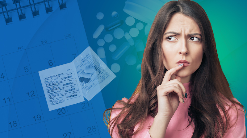 Image of woman thinking with gradient overlay and calendar in the background