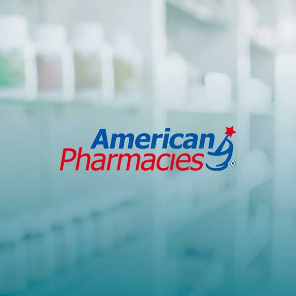 Image of American Pharmacies logo with blue gradient background