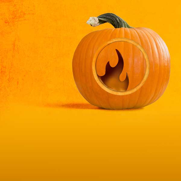 Image of pumpkin with carved catalyst podcast icon