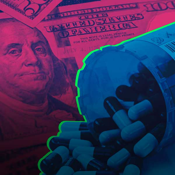 Image of pills and dollar bill