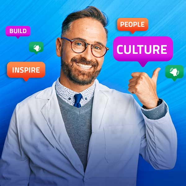 Image of pharmacist with thumbs up and icons floating around