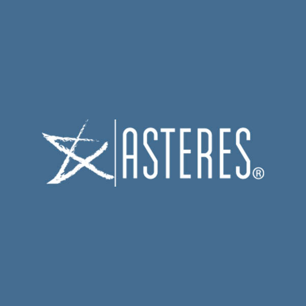 Image of Asteres Inc. logo with blue background