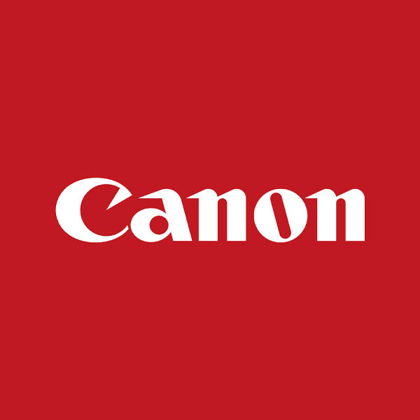 Image of Canon logo with red background
