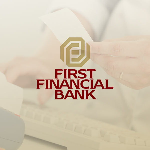 Image of First Financial Bank logo with beige background