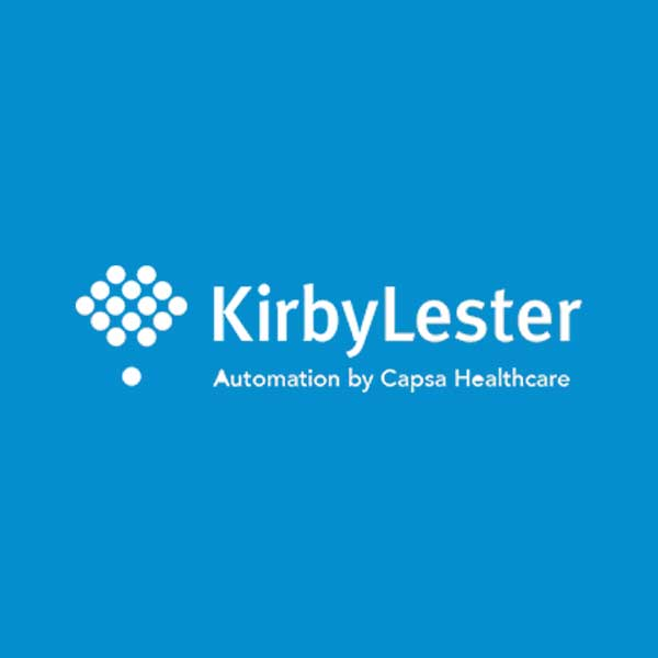 Image of Kirby Lester logo with blue background