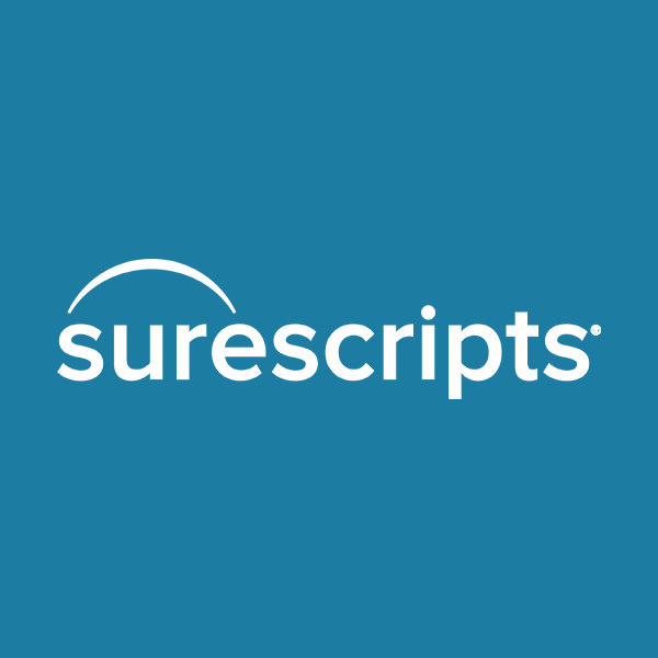 Image of Surescripts logo with blue background