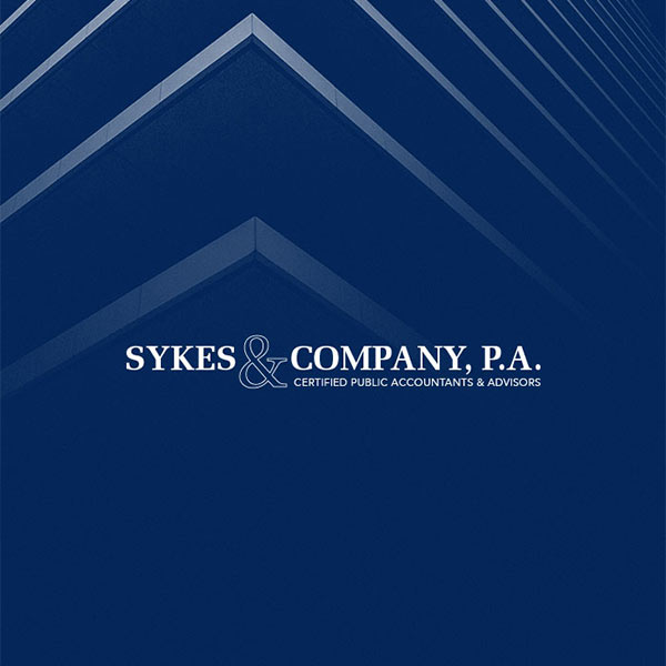 Image of Sykes & Company logo with dark blue background