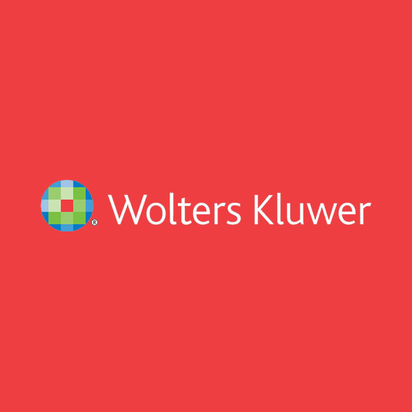 Image of Wolters Kluwer logo with red background