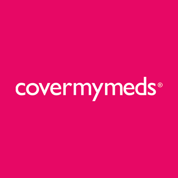 Image of CoverMyMeds logo with pink background
