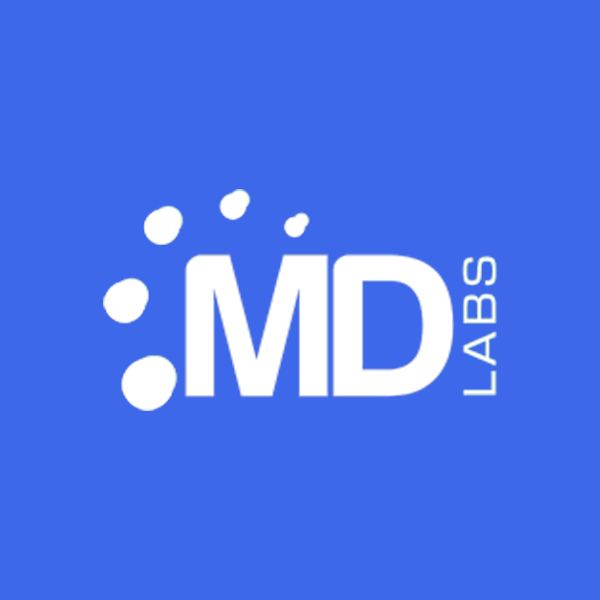 Image of MD Labs logo with blue background