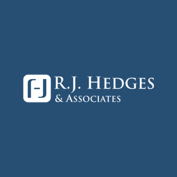 Image of R.J. Hedges & Associates Compliance Consulting Services logo with blue background