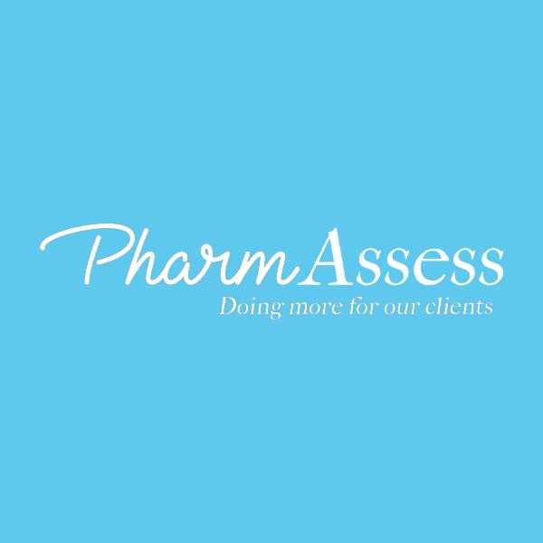 Image of Pharm Assess logo with blue background
