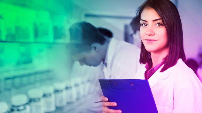 Image of young pharmacist with green overlay