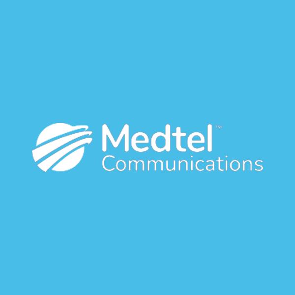 Image of Medtel logo with light blue background