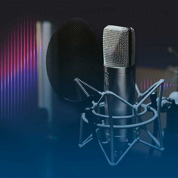 Image of podcast mic with gradient overlay