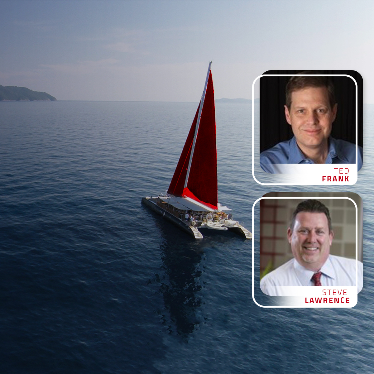 Red Boat sailing with headshots of podcast guests