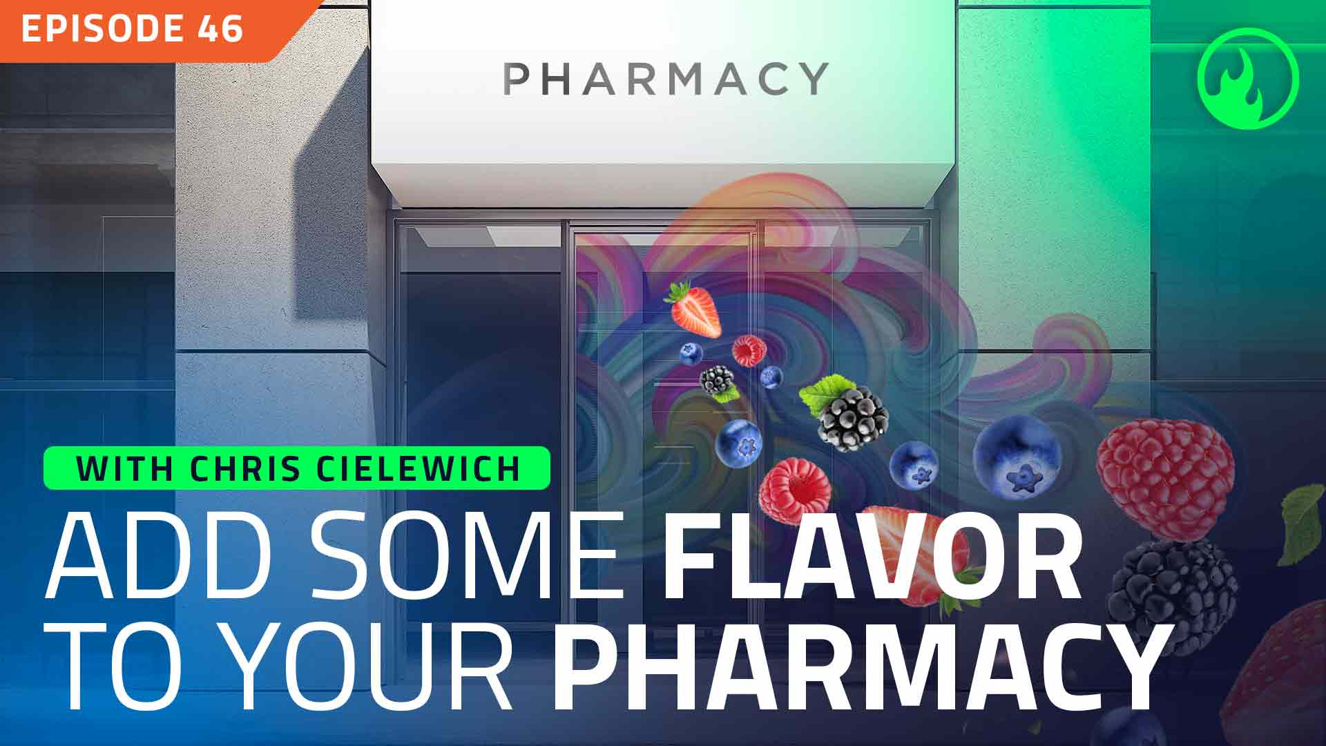 Pharmacy front with fruits and swirls