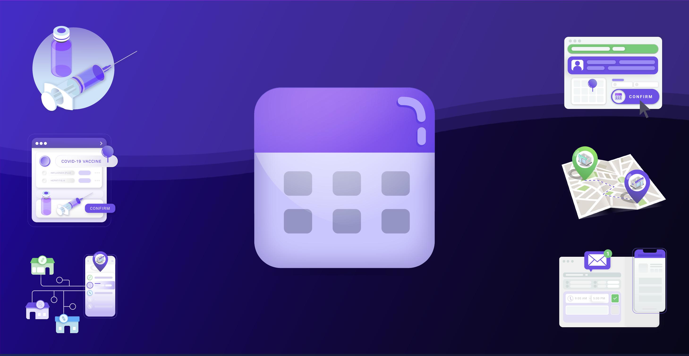 Vaccine Scheduler Icon over dark background