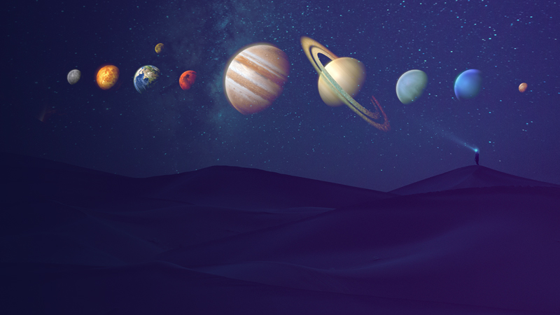 Photo of aligned planets