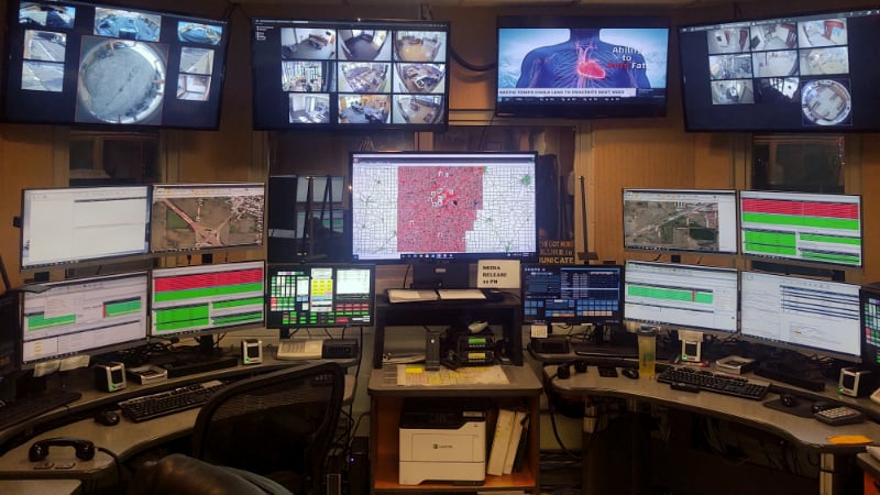 Communications/Dispatch workstation with multiple monitors