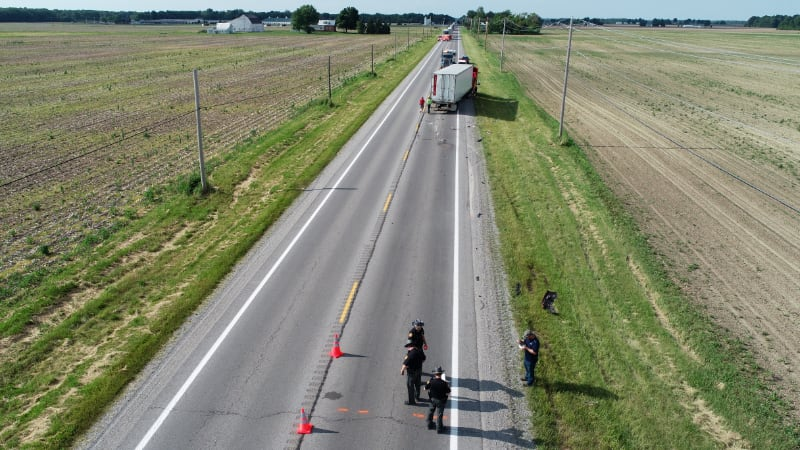 Overhead drone view of auto accident.