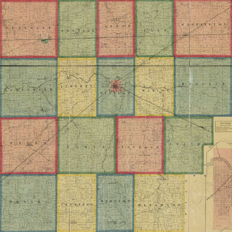 Antique map of Hancock County, OH