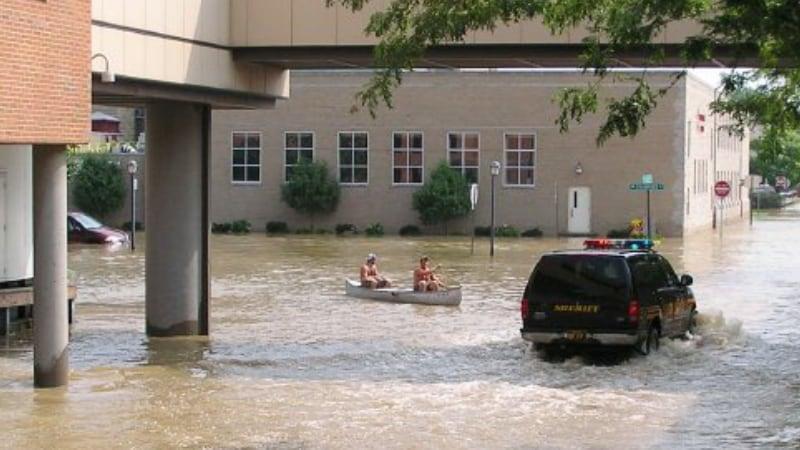 Boat in Street Floodwaters