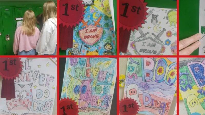 School Resource Officers Art on Bulletin Board