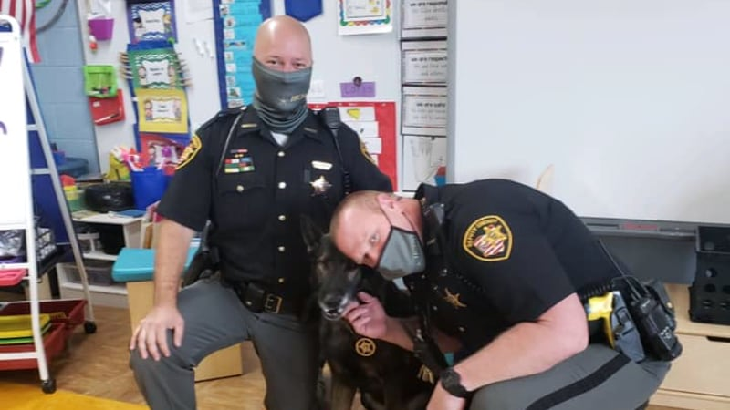 School Resource Officers with K-9 in Classroom