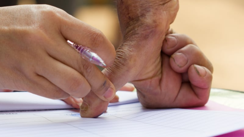 Hand during fingerprinting