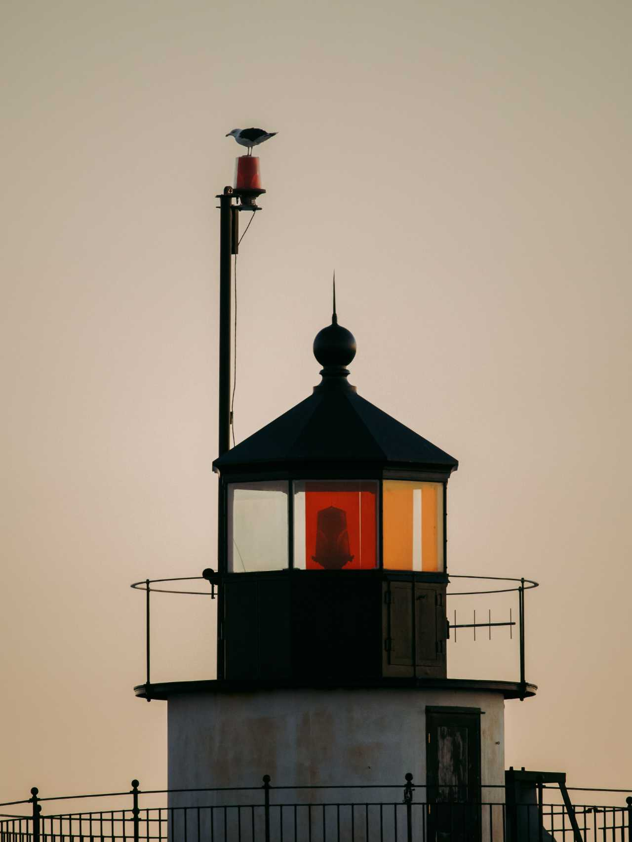 A gull perched on top of lighthouse