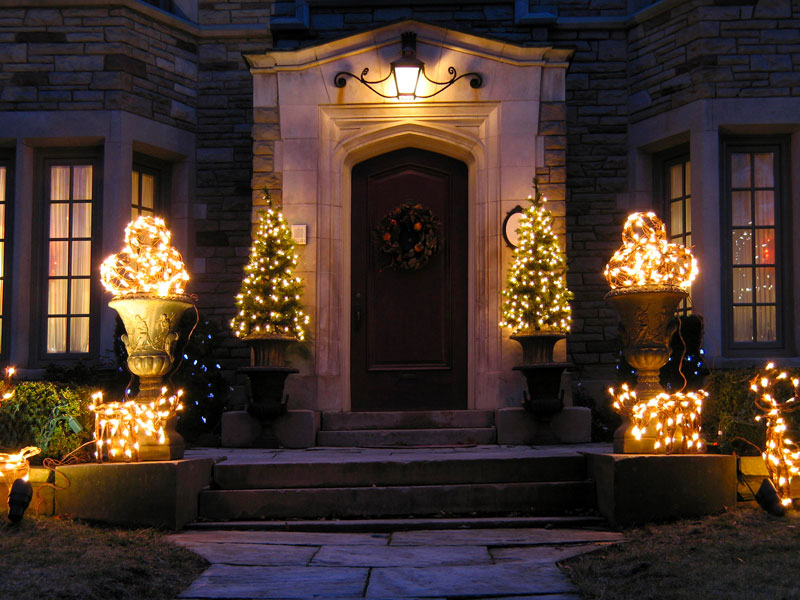 Holiday lighting at night.