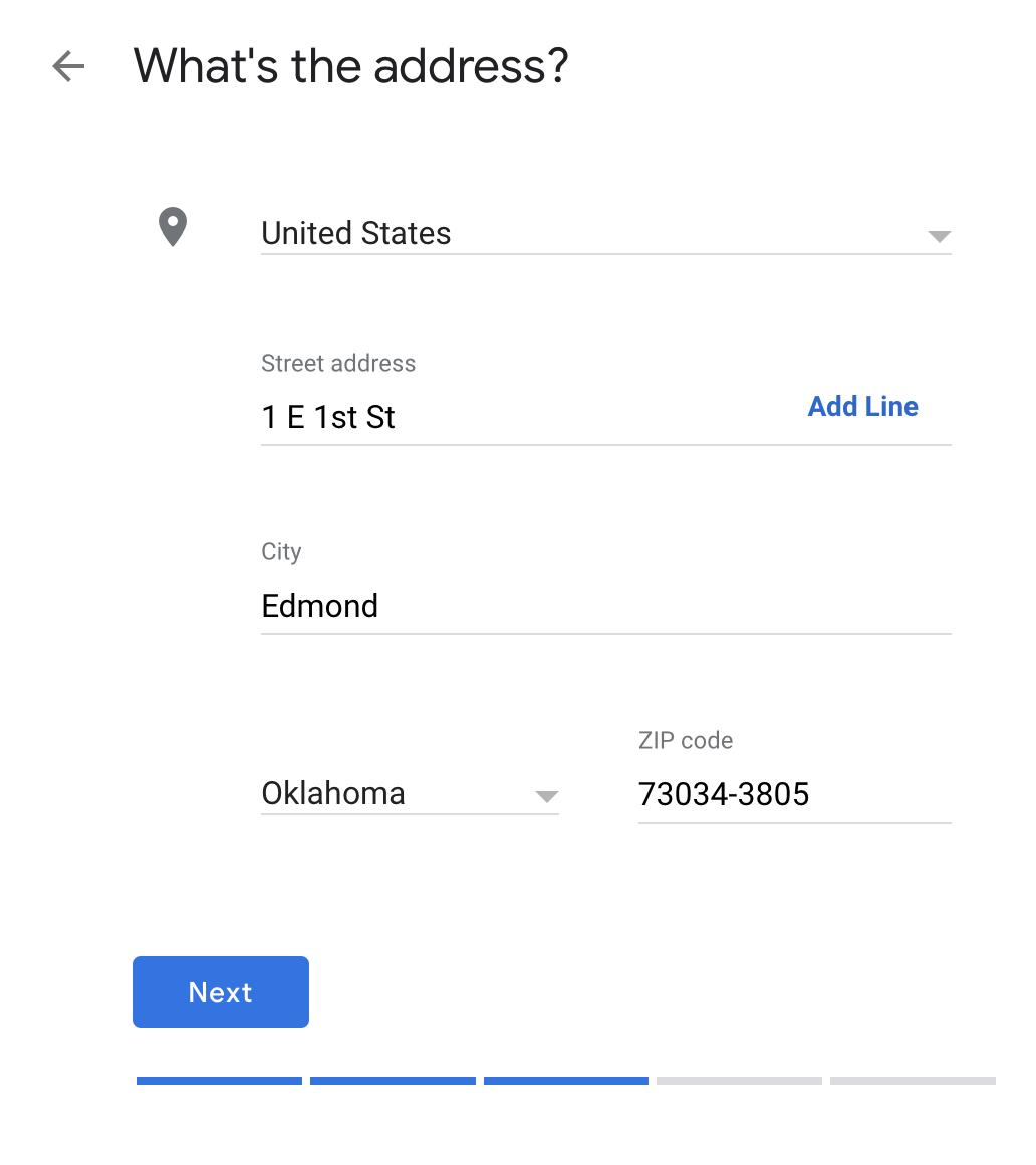 address google my business