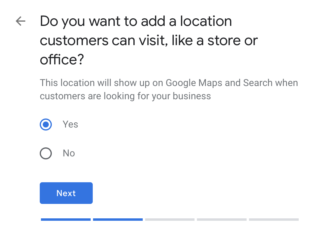 physical location google my business