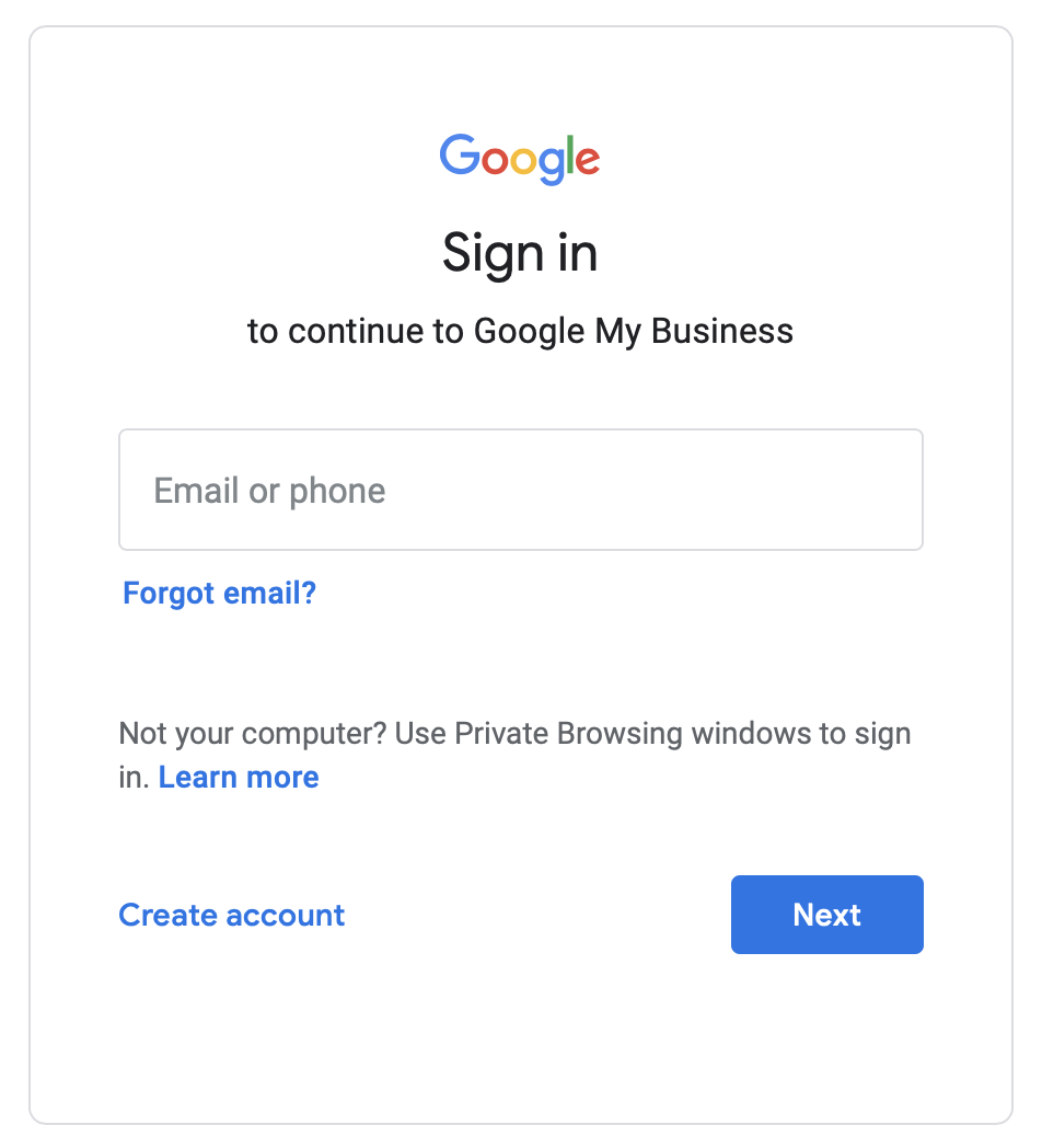 Sign in to manage google my business