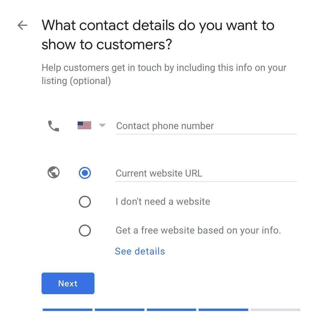 contact details form