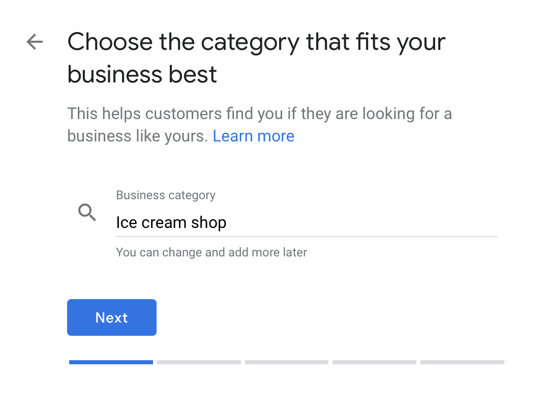 enter google my business category