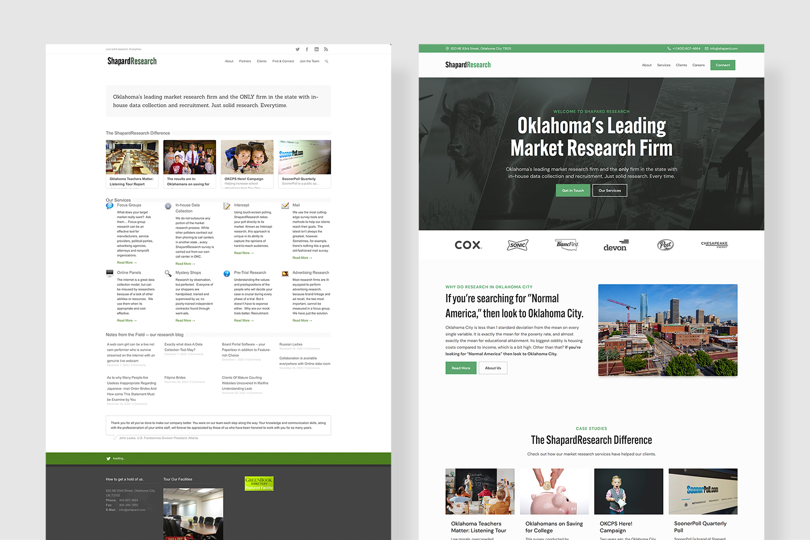 Shapard Research's old outdated website vs the new website built by Carbon Creative, an okc web design agency